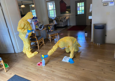 Eliminating microorganisms and bacteria from a biohazard incident.