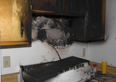 Preparing to start our fire damage restoration process in the kitchen.